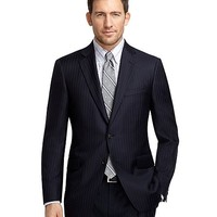 Men's Madison Fit Navy with Light Blue Pinstripe Suit