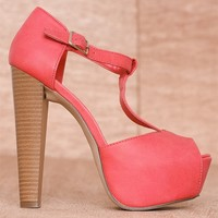 Breckelles High Fashion Hits Faux Leather Buckled T-Strap Peep Toe Pumps Brina-21 - Cherry