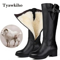 2017 Winter Women Knee High Boots Genuine Leather Snow Boots Fur Insole -30 Degree Thermal Boots Waterproof Shoes Handmade