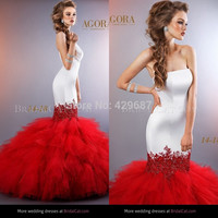 Fashion 2014 Strapless Satin And Tulle Appliqued Bridal Gown Mermaid Sweep Train Agola White And Red Wedding Dresses UM714