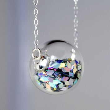 Prism glitter hand blown glass ball sterling silver by thestudio8