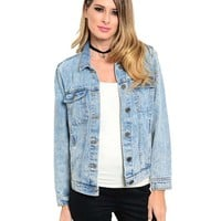 Shop the Trends Women's Long Sleeve Denim Jacket Small Blue Acid Wash
