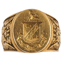 Victorian Heavy Engraved Gold Signet Ring