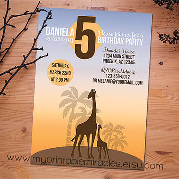 Giraffe birthday invitation, Printable safari invite card, Custom children party invitation