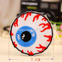 Free Shipping 1PC 7.1*7.1CM Eyeball Eye Embroidered Iron On Applique Motif Badge Patch Embroidery DIY Accessory Sewing Supplies