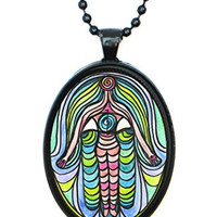 Weight Loss Success Hamsa Huge 30x40mm Black Pendant with Chain Necklace