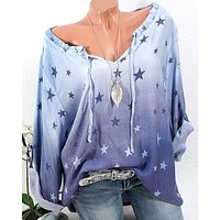 fhotwinter19 new hot sale star print long sleeve casual shirt