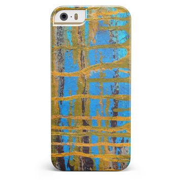 Abstract Gold and Teal Wet Paint iPhone 5/5s or SE INK-Fuzed Case