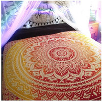 Indian Sacred Mandala Flower Twin Double King 210cm x 240cm Bed Sheet Cover Wall Hanging Tapestry Festival Boho Wall Art UK