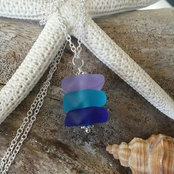Made in Hawaii, Purple blue cobalt triple sea glass necklace ,Beach glass necklace,925 sterling silver chain,gift box, Beach jewelry gift.