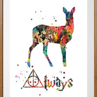 Severus Snape Quote Always watercolor print, Harry Potter Doa Deer Watercolor Poster, Wall Art, Home Decor, Wall Hanging
