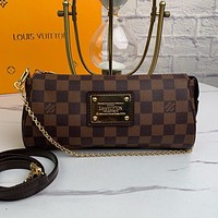 LV Louis Vuitton new products women's full printed letter cylinder shoulder bag shopping diagonal bag Coffee tartan