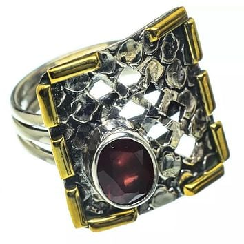 Garnet Two Tone Sterling Silver Ring