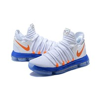 Kevin Durant 10 KD White Blue Orange Men Sneakers