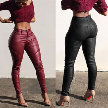 Sexy Ladies Leather Skinny High Waist Leggings Stretchy Pencil Pants Trousers HZ