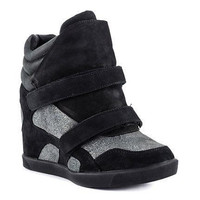 Mia Limited Edition Truffle Black Leather Wedge Sneaker