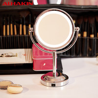 ALHAKIN 6 Inch Led Cosmetic Mirror with Light 1/3X Stainless Steel 3 pcs AA Battery Makeup Mirror with Light Table Stand Mirror