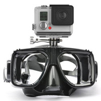 1 piece gopro diving mask soft liquid silicon scuba diving mask with clear tempered glass top snorkel mask for adult diving