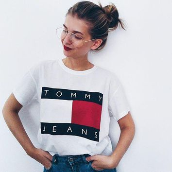"""""""Tommy Jeans"""" Women Casual Letter Multicolor Pattern Print Round Neck Short Sleeve T-shirt Tops"""