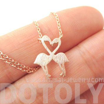Kissing Flamingos Animal Heart Shaped Silhouette Charm Necklace in Rose Gold | DOTOLY