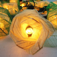 35 Mix White Rose Flower Fairy String Lights Wedding Party Floral Decor 3.5m