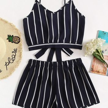 Striped Knot Cami Top With Shorts