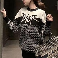 Dior CD new letter jacquard knitted sweater coat top