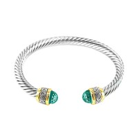 Ebba Aqua Crystal Textured Cable Open Bracelet