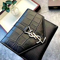YSL Saint Laurent Paris Fashion Crocodile Embossed Purse Wallet