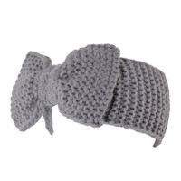 Gray Bowknot Knitted Headband