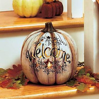 Country Lighted Welcome Decor Holiday Halloween Fall Thanksgiving Pumpkin