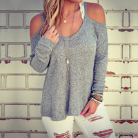 Simple - Grey Long Sleeve Off Shoulder Strappy Sweater Top a12819