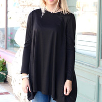 Long Sleeve High Neck Basic Tunic Top {Black}