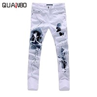 QUANBO Big size  White Printed Men Jeans Fashion Male Unique Cotton stretch jeans Man's Casual Character Pattern biker jeans