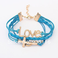 Whole 2014 New Vintage Rope Cross Chain Charming Love Bracelets & Bangles Sets Jewelry For Women Free Shipping