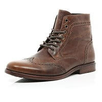 River Island MensBrown leather brogue boots