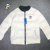 Adidas Women Men Fashion Zip Cardigan Long Sleeve Thickened Cotton-padded Clothes Jacket Coat White I-A001-MYYD
