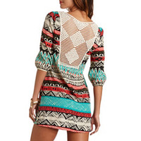 CROCHET-BACK TRIBAL PRINT SHIFT DRESS