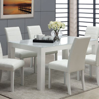 7 PC White Wood Dining Set Glass Top Table Parson Chairs Leather Seat