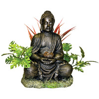 Bronze Buddha with Plants Ornament - 8 in x 7 in x 6.25 in