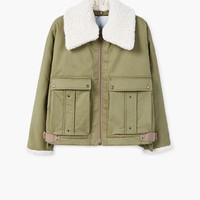 Faux shearling collar quilted jacket - Women | MANGO USA