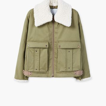 Faux shearling collar quilted jacket - Women   MANGO USA