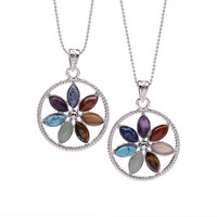 7 Chakra Link Chain Rose Crystal Pendant Necklaces Moon Arrow Shape Silver Plated Natural Stone Necklaces For Women