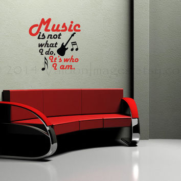 Music wall decal, music quote decal, subway art vinyl decal, wall words sticker, typography, wall graphic, music saying
