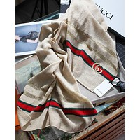 Gucci new metal wire hollow woven shawl classic red and green strip design fashion lady cashmere yarn scarf apricot