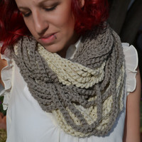 Neutral tones chunky crocheted loop infinity scarf, cowl, chain necklace