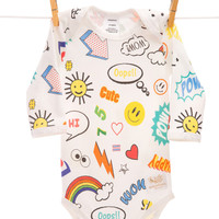 Organic cartoon multi bodysuit handmade in USA