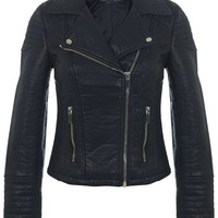 Faux Leather Biker Jacket - Coats & Jackets - Clothing
