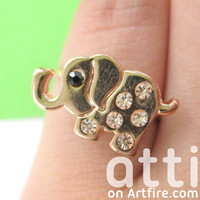 Small Cute Elephant Animal Rhinestone PINKY Adjustable Ring from Dotoly Love