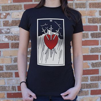 Tarot Three Of Swords T-Shirt (Ladies)